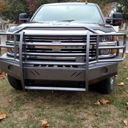 "2015-19 Chevy 2500HD/3500HD Elite Series with Horizontal Bars in a Silver Vein powder coat - 2 x 2 bar has been replaced with a 3/8"" plate"