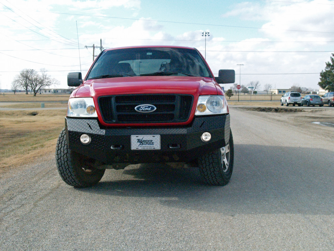 2006-08 FORD F-150 - DIAMOND  PLATE STEEL -  PREMIUM FRONT BUMPER REPLACEMENT - 2006-08 ROUND FACTORY FOG LIGHT
